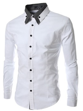 Ericdress Patched Long Sleeve Slim Men's Shirt