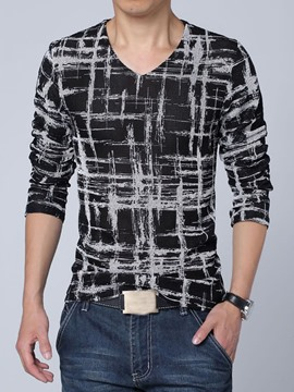 Ericdress Casual V-Neck Large Size Long Sleeve Men's T Shirt