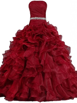 Ericdress Strapless Beading Pleats Ball Gown Quinceanera Dress