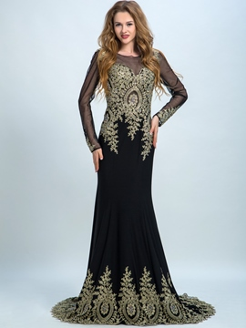 Ericdress Mermaid Long Sleeves Appliques Beading Evening Dress