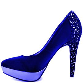 Ericdress Royal Blue Lace Patchwork Pumps