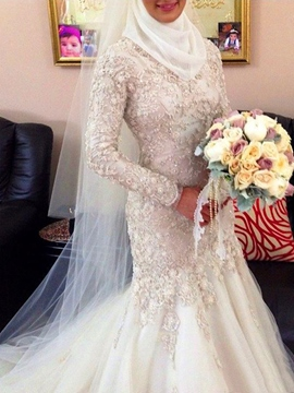 Ericdress V-Neck Floor-Length Court Long Sleeves Church Wedding Dress