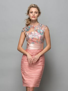 Ericdress Cap Sleeves Appliques Sheath Cocktail Dress