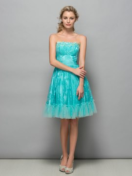 Ericdress Strapless Appliques Lace Cocktail Dress