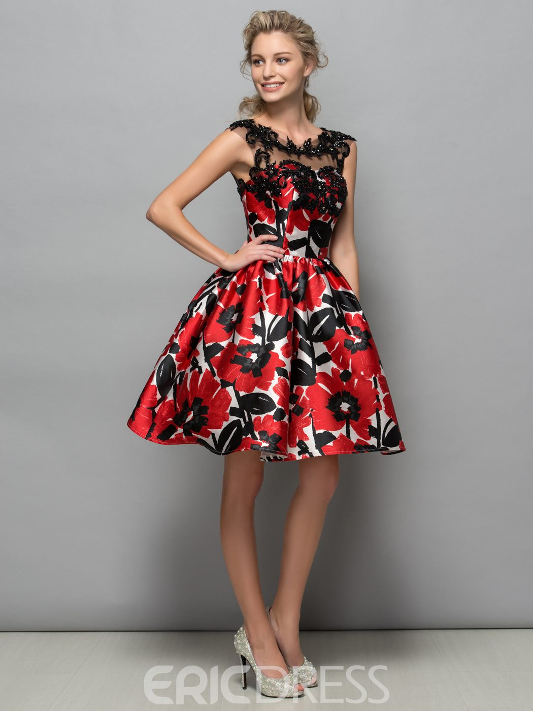 Ericdress Appliques Beading Print Cocktail Dress