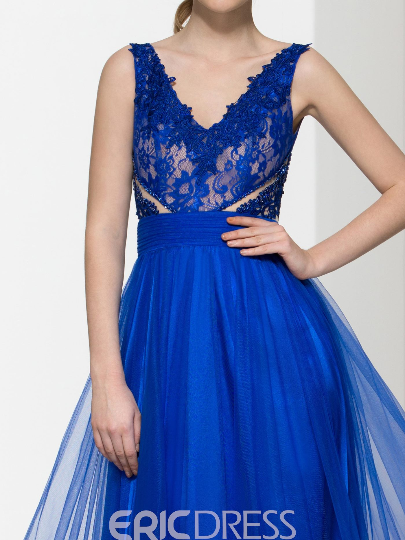 Ericdress V-Neck Appliques Beading Hollow Lace Prom Dress