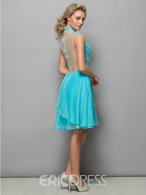 Ericdress High Neck Sheer Back Pearls Cocktail Dress