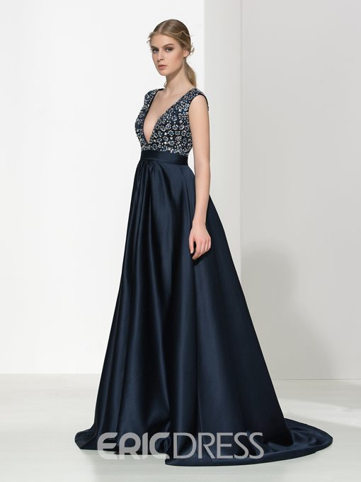 Ericdress V-Neck Beading Sequins Long Evening Dress