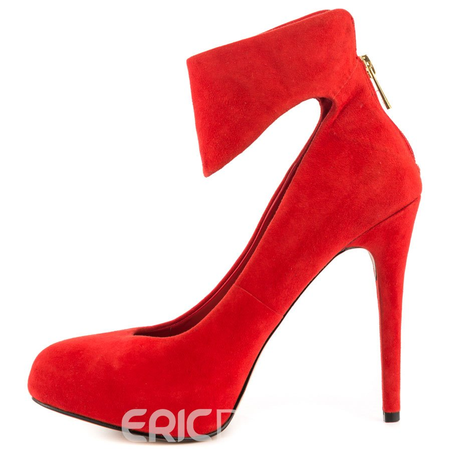 Ericdress Red Suede Point Toe Pumps