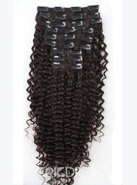 Ericdress Human Hair African Curly Clip In Hair Extensions 7 PCS