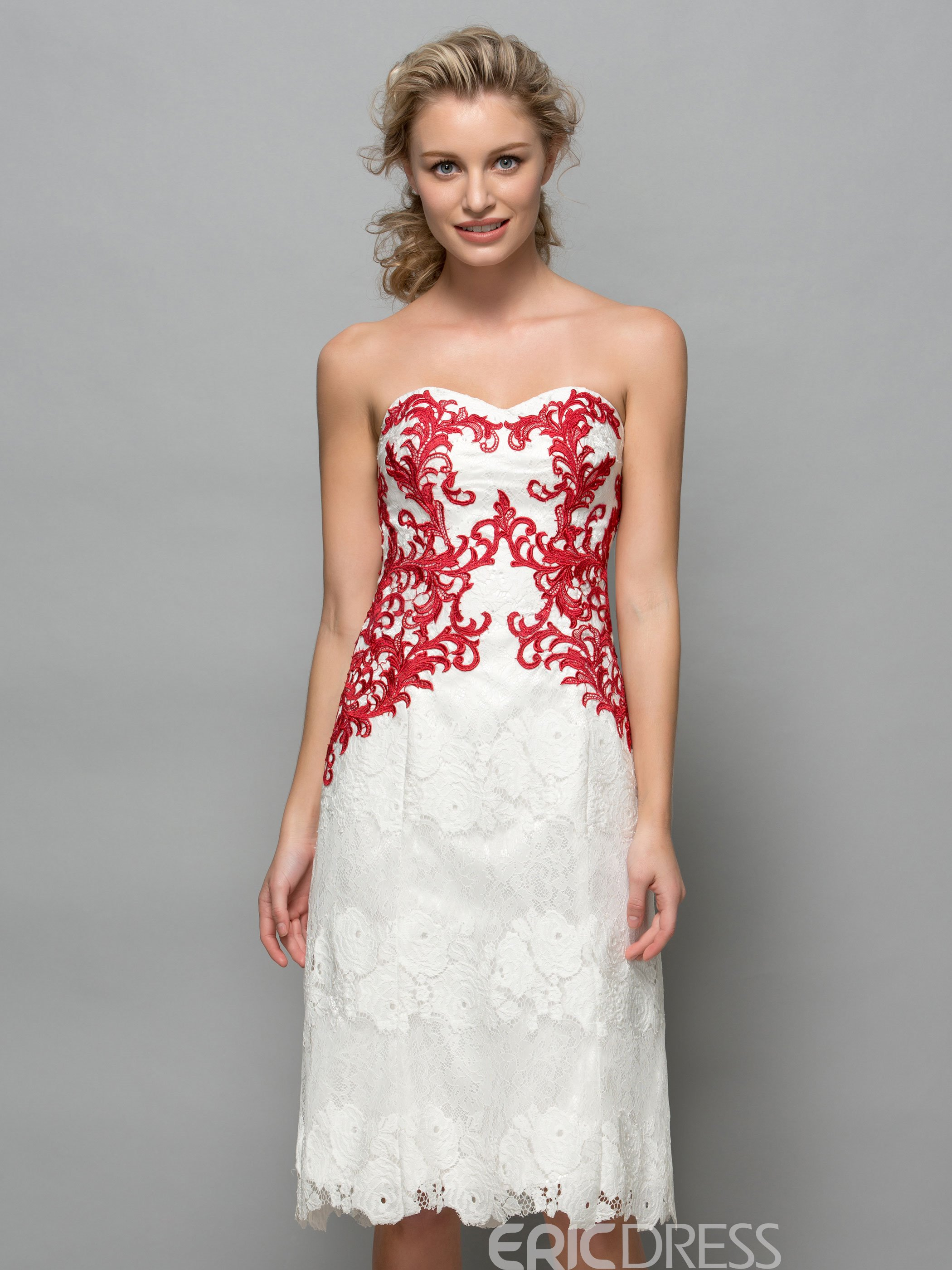 Ericdress Sweetheart Hollow Appliques Knee-Length Lace Cocktail Dress