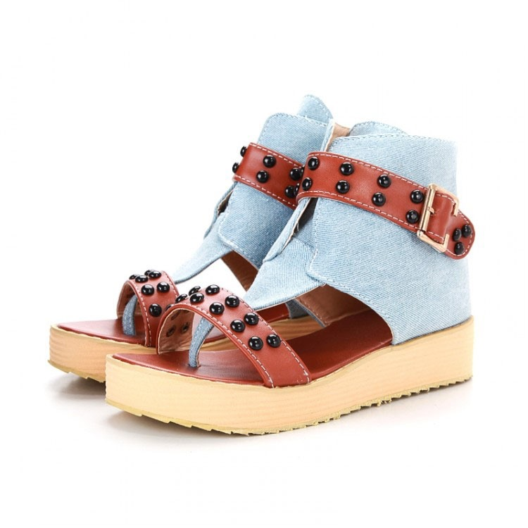 Ericdress Denim Patchwork Flat Sandals with Rivets