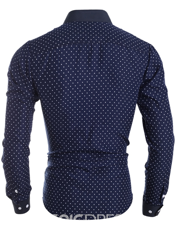 Men's Clothing Polka Dots Star Printed Lapel Slim Fit Shirt
