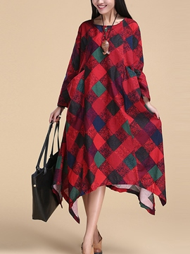 Plaid Ericdress asymétrique robe Maxi
