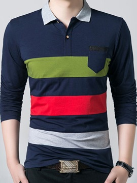 Ericdress Color Block Stripe Long Sleeve Men's T-Shirt