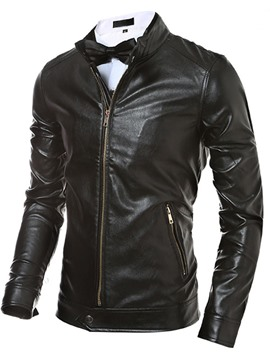 Ericdress Plain PU Zip Men's Jacket
