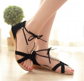 Ankle Strap Beads Women's Flat Sandals