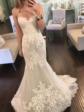 Ericdress Trumpet/Mermaid Sweetheart Floor-Length Sleeveless Hall Wedding Dress