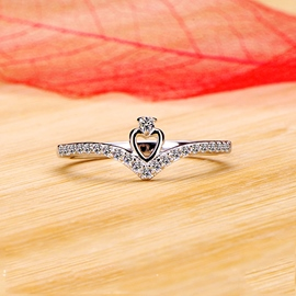 Ericdress Splendid Starlight NSCD Diamond Heart Ring