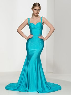 Ericdress Mermaid Straps Pleats Sexy Evening Dress