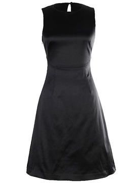 Ericdress Plain Bowknot Hollow A Line Dress