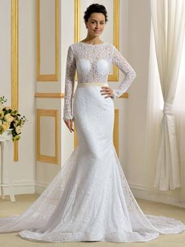 Ericdress Sexy Backless Mermaid Lace Wedding Dress