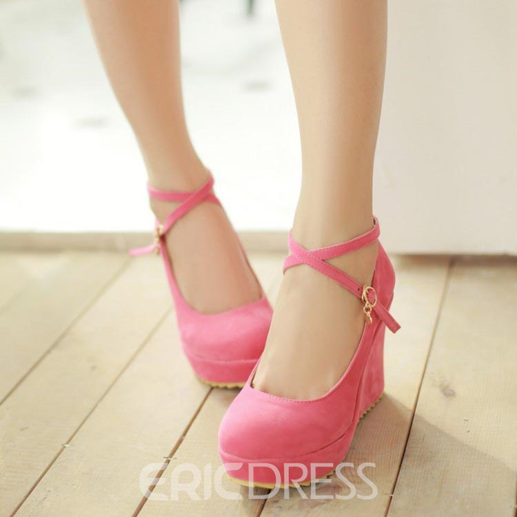 Ericdress Lovely Solid Color Suede Wedges 11601588