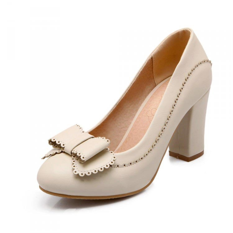 Ericdress Lovely Bowknot Chunky Heel Pumps
