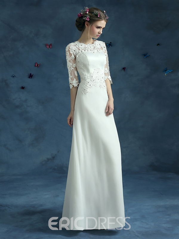 Ericdress Appliques Beading Half Sleeves Wedding Dress