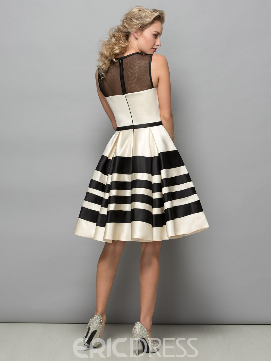 Ericdress Sheer Neck Bowknot Knee-Length Cocktail Dress