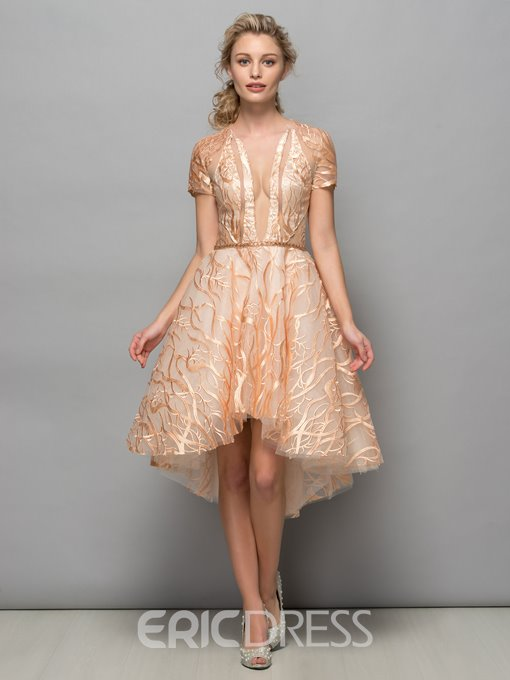 Ericdress Short Sleeves Lace Astmmetry Cocktail Dress