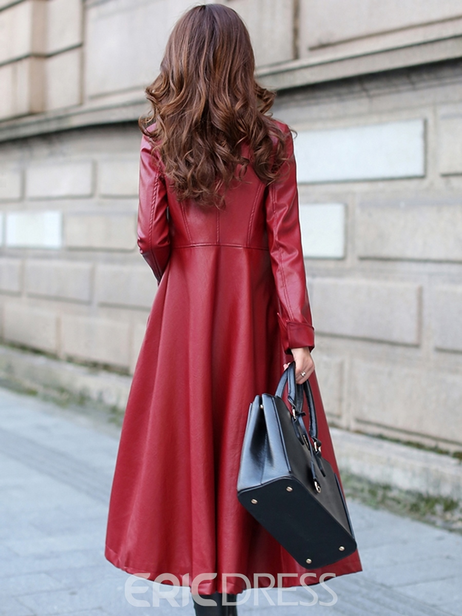 Ericdress Long Style PU Trench Coat