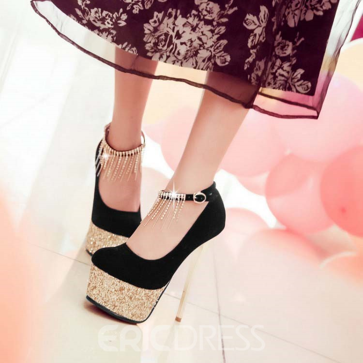 Ericdress Glittering Tassels Decoration Prom Shoes