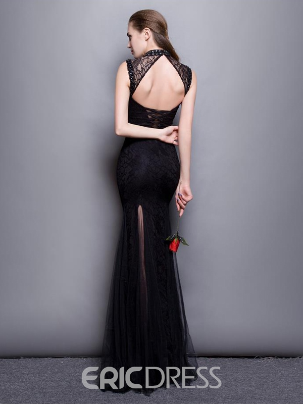 Ericdress Sheath High Neck Beading Open Back Lace Evening Dress