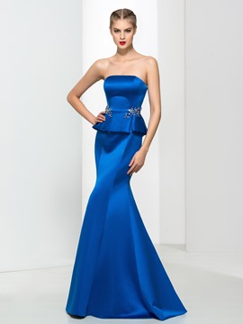 Ericdress Mermaid Strapless Beading Ruffles Evening Dress