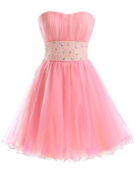 Ericdress Sweetheart a-ligne perles plis Sequins court Homecoming robe