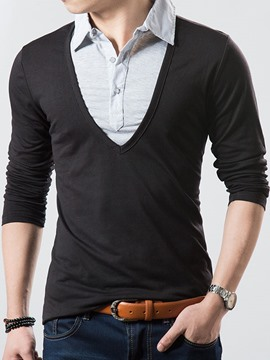 Ericdress Patched Double-Layer Design Long Sleeve Men's T-Shirt