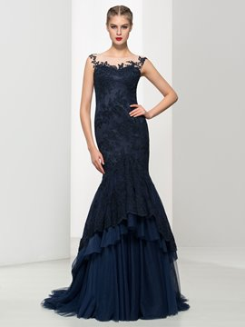 Ericdress Mermaid Cap Sleeves Appliques Tiered Button Evening Dress