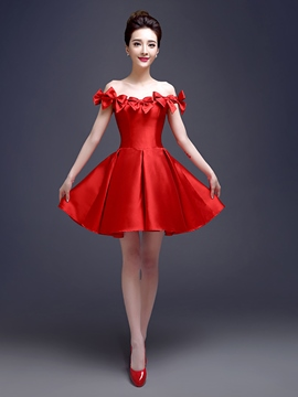 Ericdress Off-The-Schulter Bowknot kurzen Cocktailkleid