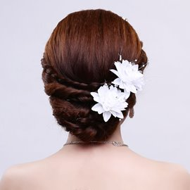Ericdress Beautiful White Hair Flower