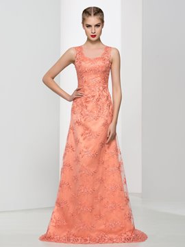 Ericdress A-Line Sheer Neck Lace Long Prom Dress