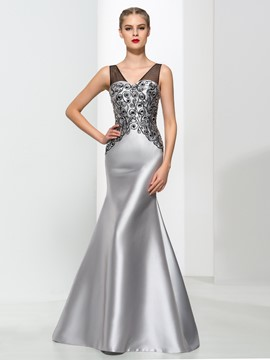 Ericdress Mermaid V-Neck Beading Elegant Evening Dress