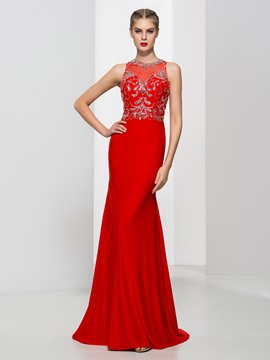 Ericdress Sheath Jewel Neck Beading Elegant Evening Dress