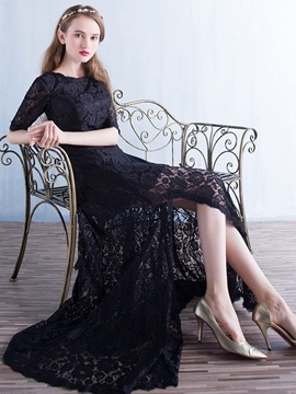 Ericdress Half Sleeves Split-Front Lace Evening Dress