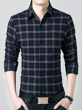 Ericdress Plaid Thicken with Velvet Warm Men's Shirt