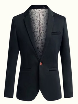 Ericdress Lapel Solid Color One Button Slim Men's Blazer