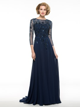 Ericdress Luxury Beading 3 4 Length Sleeves Long Mother Of The Bride Dress
