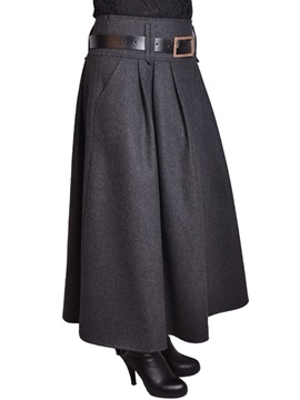 Ericdress Plain Pleated Belt Maxi Skirt