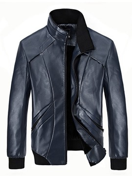 Ericdress Stand Collar PU Vogue Men's Jacket