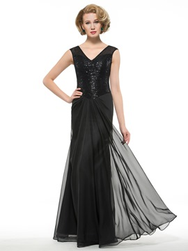 Ericdress Elegant V Neck Sequines Long Mother Of The Bride Dress